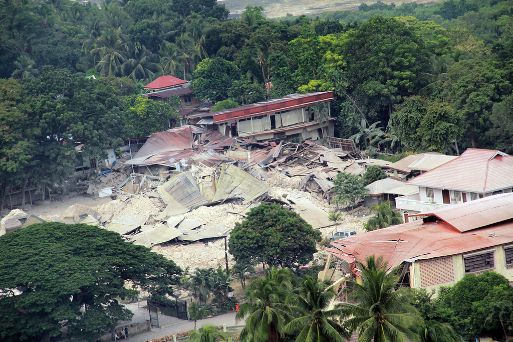 . This handout photo taken on October 16, 2013 and released on October 17 by the Philippine air force (PAF) shows an aerial shot of a destroyed church in the town of Loon, Bohol province, central Philippines, after a 7.1 earthquake hit the tourist island destination october 15. AAFP PHOTO /PAF HO/AFP/Getty Images