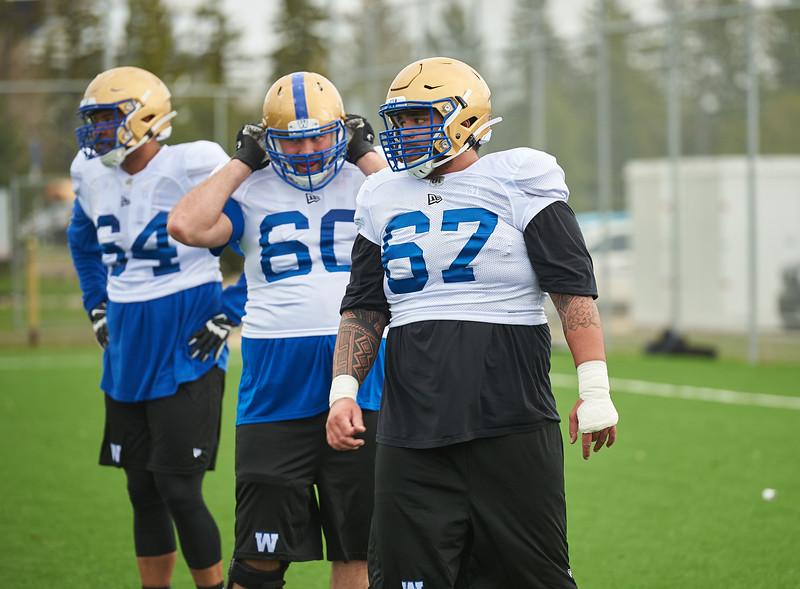 #67 Asotui Eli during Winnipeg Blue Bombers rookie camp Wednesday May 15, 2019.