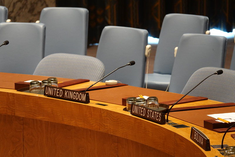 Seating inside the Security Council Chamber, United Nations, New York.