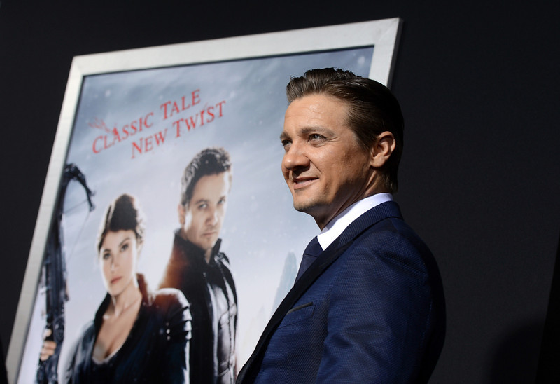 """. Actor Jeremy Renner arrives for the Los Angeles premiere of Paramount  Pictures\' \""""Hansel And Gretel Witch Hunters\"""" at TCL Chinese Theatre on January 24, 2013 in Hollywood, California.  (Photo by Kevin Winter/Getty Images)"""