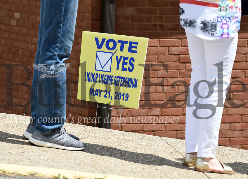 Harold Aughton/Butler Eagle: Residents lined up to vote on a liquor license referendum to allow the sale of alcohol in Middlesex Twp, Tuesday, May 21.