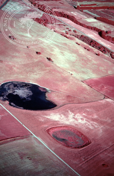 Farmland Torups Gård, south Ravlunda - with ponds and prehistoric remains. Experimentally photographed with infrared film and Kodak Wratten gelatin filter No:12 & 25 (4 May, 1989). | LH.0745