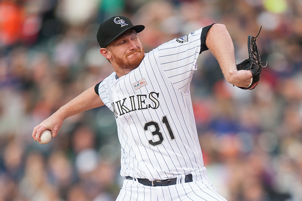 . Eddie Butler #31 of the Colorado Rockies pitches against the New York Mets in the second inning of a game  at Coors Field on May 14, 2016 in Denver, Colorado.  (Photo by Dustin Bradford/Getty Images)