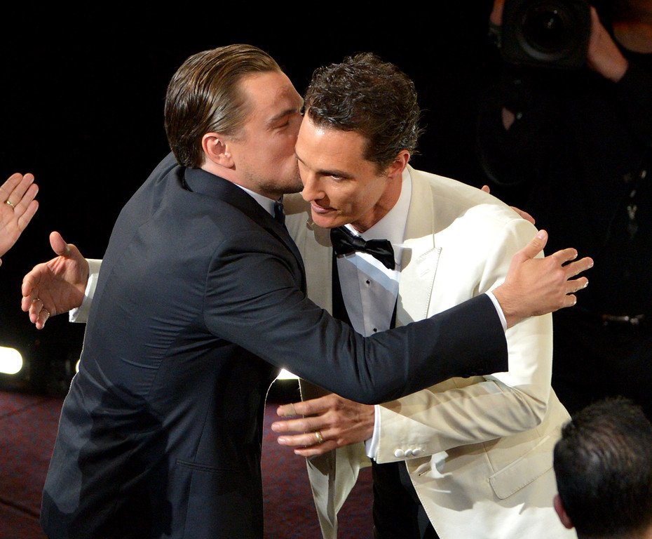 ". Leonardo DiCaprio, left, congratulates Matthew McConaughey for winning the award for best actor in a leading role for ""Dallas Buyers Club\"" during the Oscars at the Dolby Theatre on Sunday, March 2, 2014, in Los Angeles.  (Photo by John Shearer/Invision/AP)"