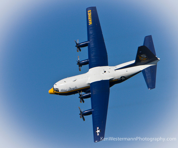"The Blue Angels ""Fat Albert"" taking a flight over the San Francisco Bay."
