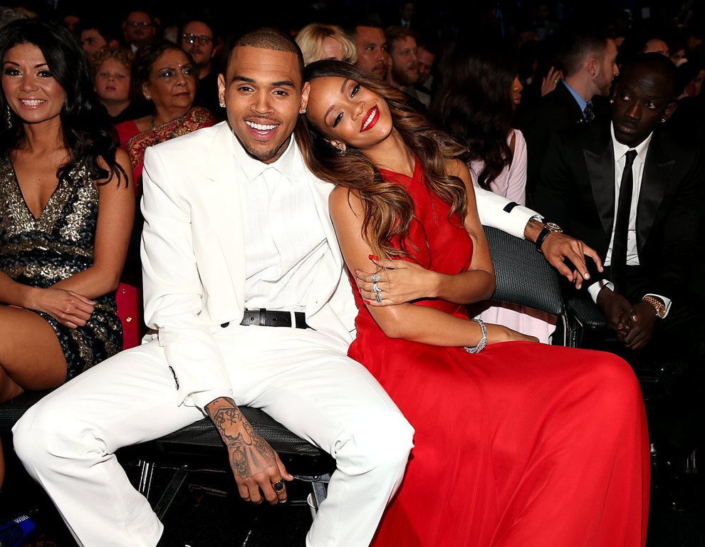. Chris Brown and Rihanna attend the 55th Annual GRAMMY Awards at STAPLES Center on February 10, 2013 in Los Angeles, California.  (Photo by Christopher Polk/Getty Images for NARAS)