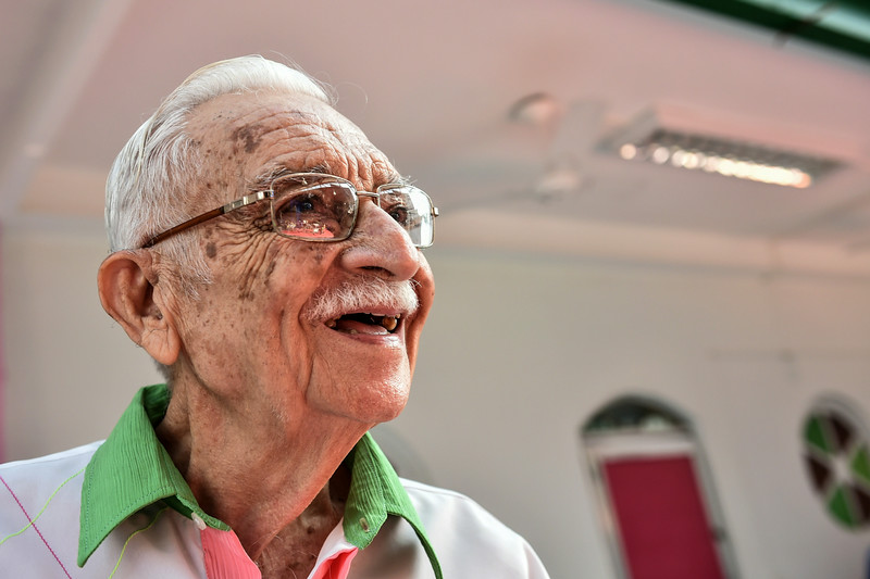. Raymundo de Castro, 84-years old co-chief of the Mangueira samba school in Rio de Janeiro, react as he watches on June 28, 2014 the Round of 16 football match between Brazil and Chile being held at the Mineirao Stadium in Belo Horizonte during the 2014 FIFA World Cup. (YASUYOSHI CHIBA/AFP/Getty Images)