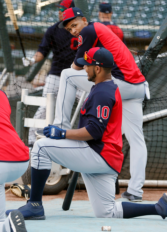 . Cleveland Indians\' Edwin Encarnacion (10) and Erik Gonzalez wait to bat during batting practice before a baseball game against the Minnesota Twins Thursday, May 31, 2018, in Minneapolis. (AP Photo/Jim Mone)