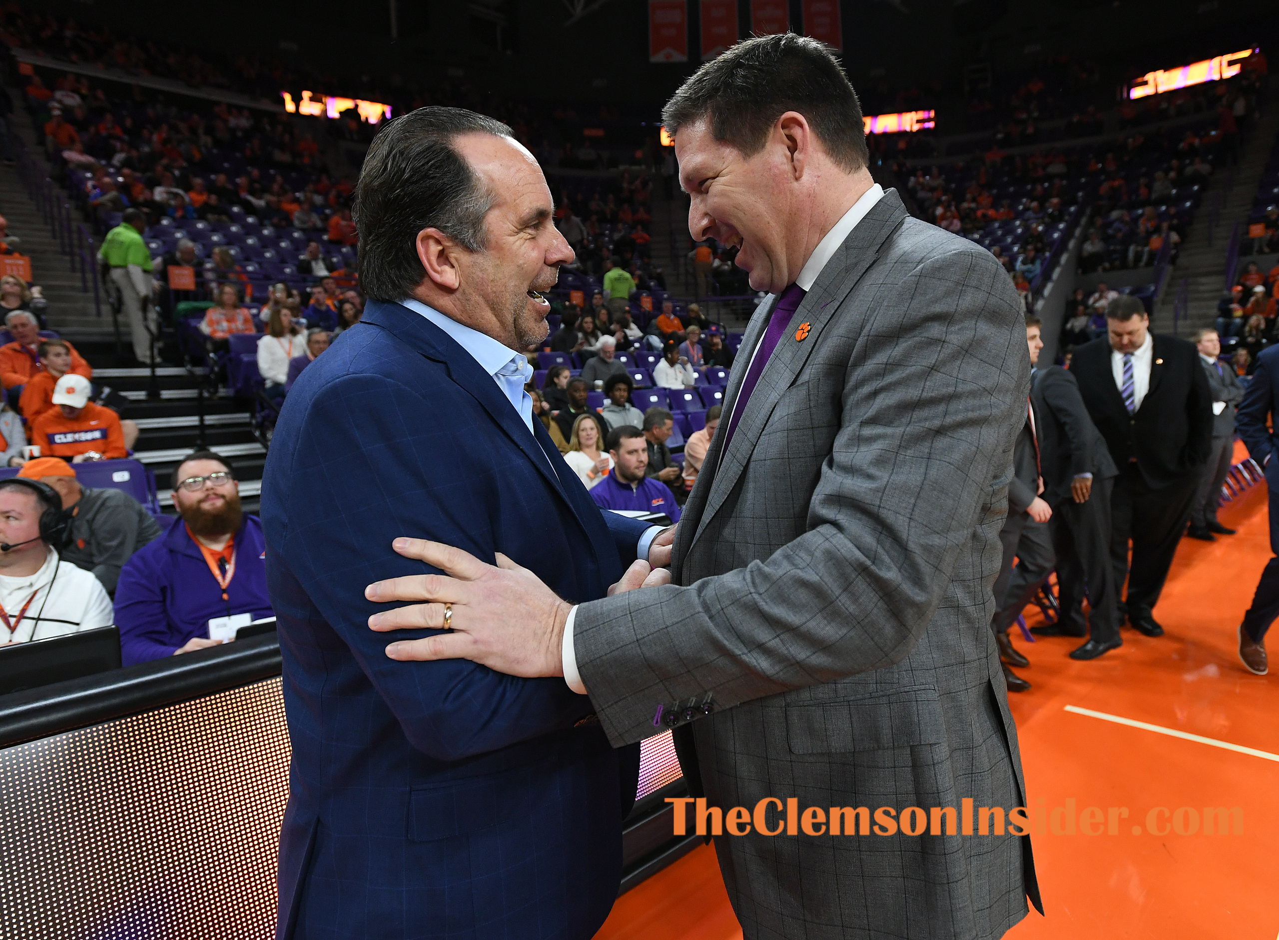 Notre Dame head coach Mike Brey shakes hands with Clemson head coach Brad Brownell before their game Sunday, February 9, 2020 at Clemson's Littlejohn Coliseum. Bart Boatwright/The Clemson Insider