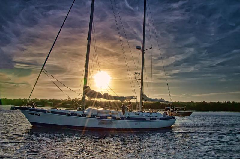 Sailboat on way to Kewaydin Island