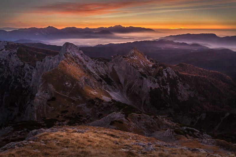 View from Veliki Draški vrh towards Kamniško-Savinijske Alps
