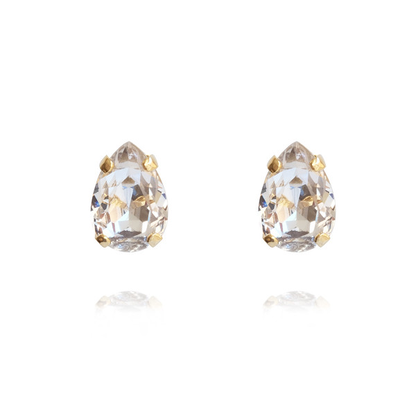 Petite Drop Stud Earrings / Crystal Gold