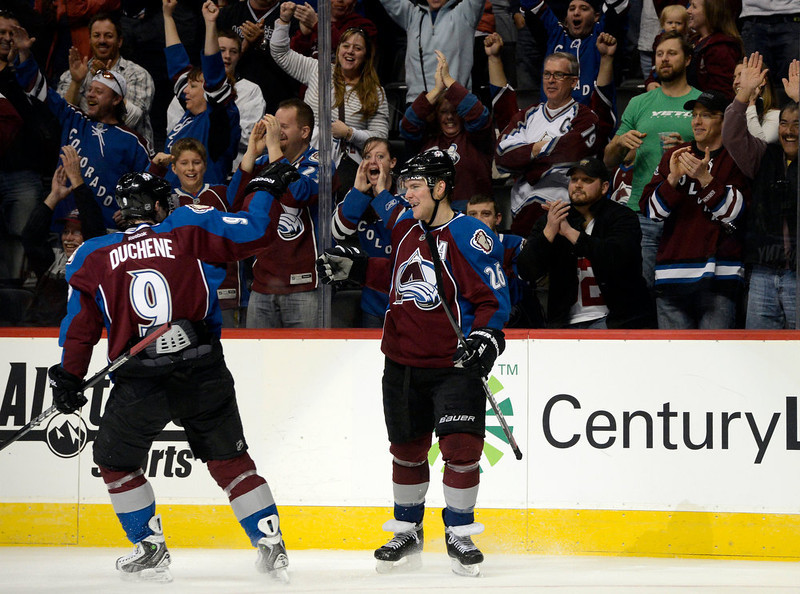 . DENVER, CO. - FEBRUARY 2ND: Colorado Avalanche center, Matt Duchene, left, skates over to congratulate Paul Stastny, after Stastny scored an empty net goal coming out of the penalty box late in the third period against the Edmonton Oilers at the Pepsi Center in Denver Colorado, February 2nd, 2013. Avalanche won 3-1.  (Photo By Andy Cross / The Denver Post)