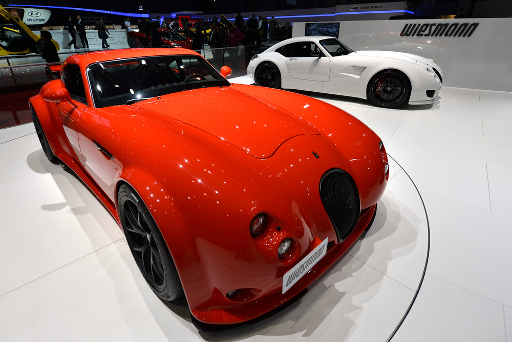 . The new Wiesmann GT MF4-CS is shown during the press day at the 83rd Geneva International Motor Show in Geneva, Switzerland, Tuesday, March 5, 2013. The Motor Show will open its gates to the public from 7th to 17th March presenting more than 260 exhibitors and more than 130 world and European premieres. (AP Photo/Keystone, Martial Trezzini)