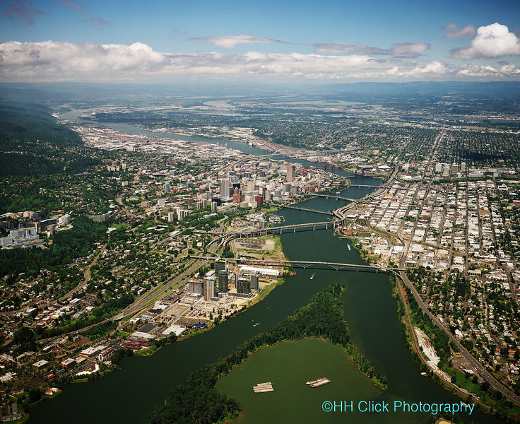 High-altitude view, City of Portland