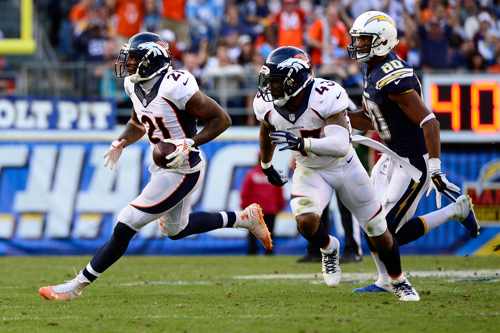 . SAN DIEGO, CA. December 14, - cornerback Aqib Talib #21 of the Denver Broncos running back an interception in the 2nd half vs the San Diego Chargers at Qualcomm Stadium December 14, 2014 San Diego, CA (Photo By Joe Amon/The Denver Post)