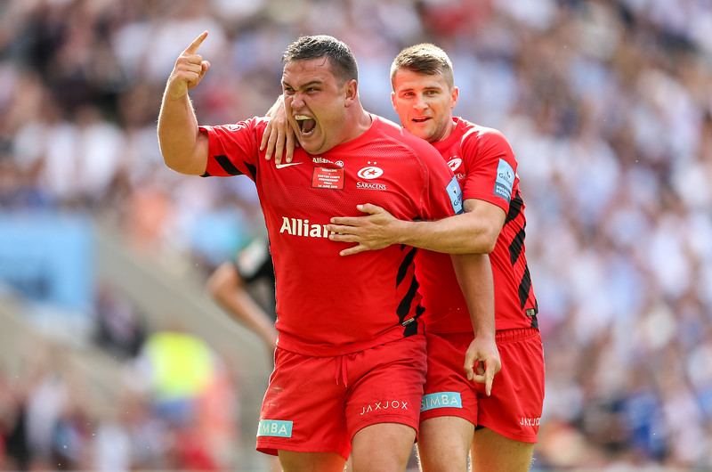 Jamie George  of Saracens celebrates after scoring a try