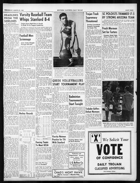 Daily Trojan, Vol. 31, No. 111, March 27, 1940