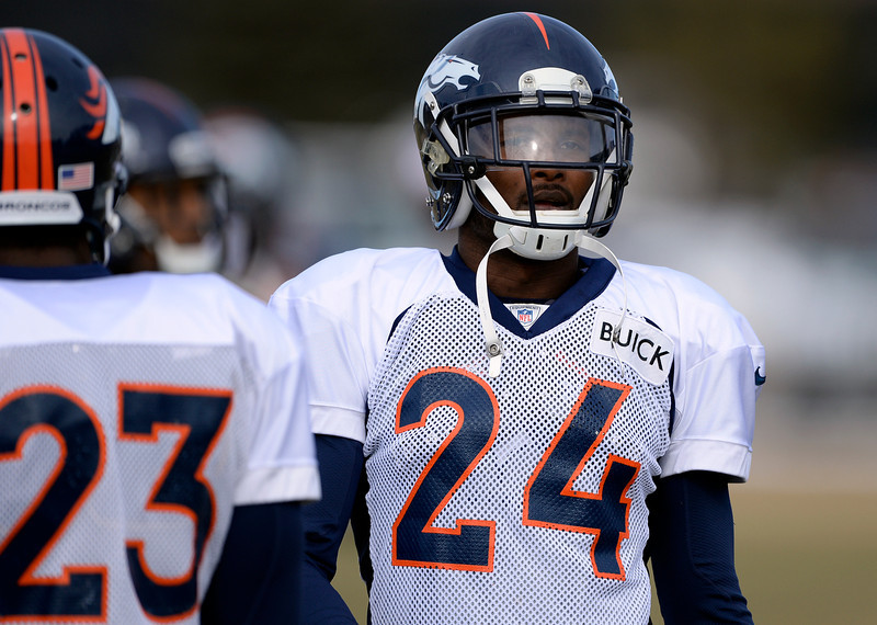 . Denver Broncos cornerback Champ Bailey (24) looks on during practice January 15, 2014 at Dove Valley. The Broncos are preparing for their game against the New England Patriots in the AFC championship game.  (Photo by John Leyba/The Denver Post)