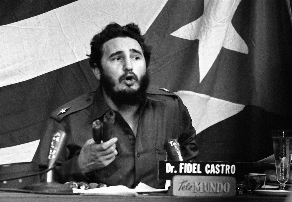 . Fidel Castro accuses United States of conducting ?continuing campaign of hostility against Cuba: Bearded leader waving ?made in USA? firebombs in Havana Jan. 20, 1960 he said planes from U.S.A. dropped on Cuban cane fields. He was making major television address his first such formal speech in 1960. (AP Photo)