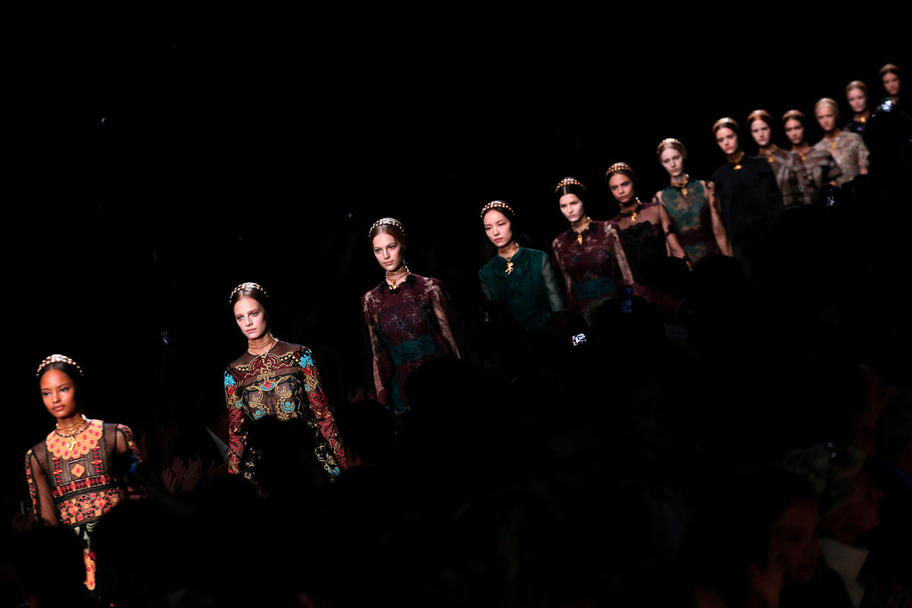 . Models present creations as part of Valentino\'s ready-to-wear Spring/Summer 2014 fashion collection, presented Tuesday, Oct. 1, 2013 in Paris. (AP Photo/Christophe Ena)