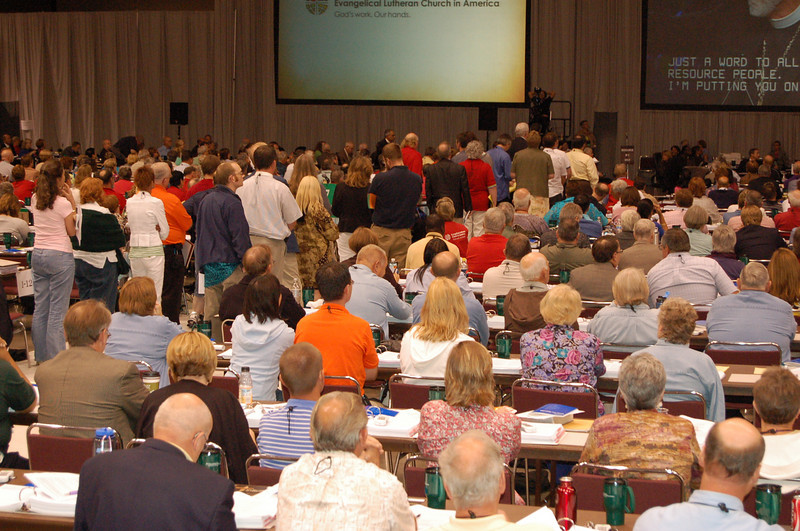 Voting members listen to people wishing to speak on an amendment to the proposed Social Statement for Human Sexuality.