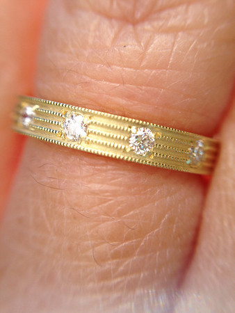 R535BD - Fern Finish Eternity Band Shown in 18k Yellow Gold