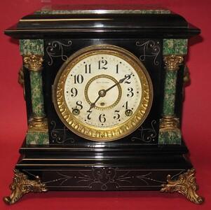 Seth Thomas Adamantine Mantel Clock, Arno, Black with Green Trim