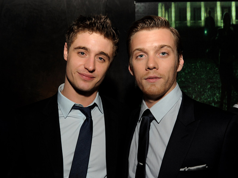 """. Actors Max Irons (L) and Jake Abel pose at the after party for the premiere of Open Road Films\' \""""The Host\"""" at Lure on March 19, 2013 in Los Angeles, California.  (Photo by Kevin Winter/Getty Images)"""