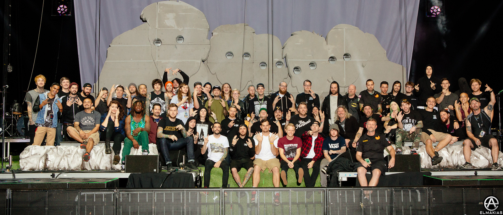 Full band and crew of the Parks and Devastation Tour