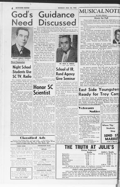 Summer News, Vol. 10, No. 16, August 22, 1955