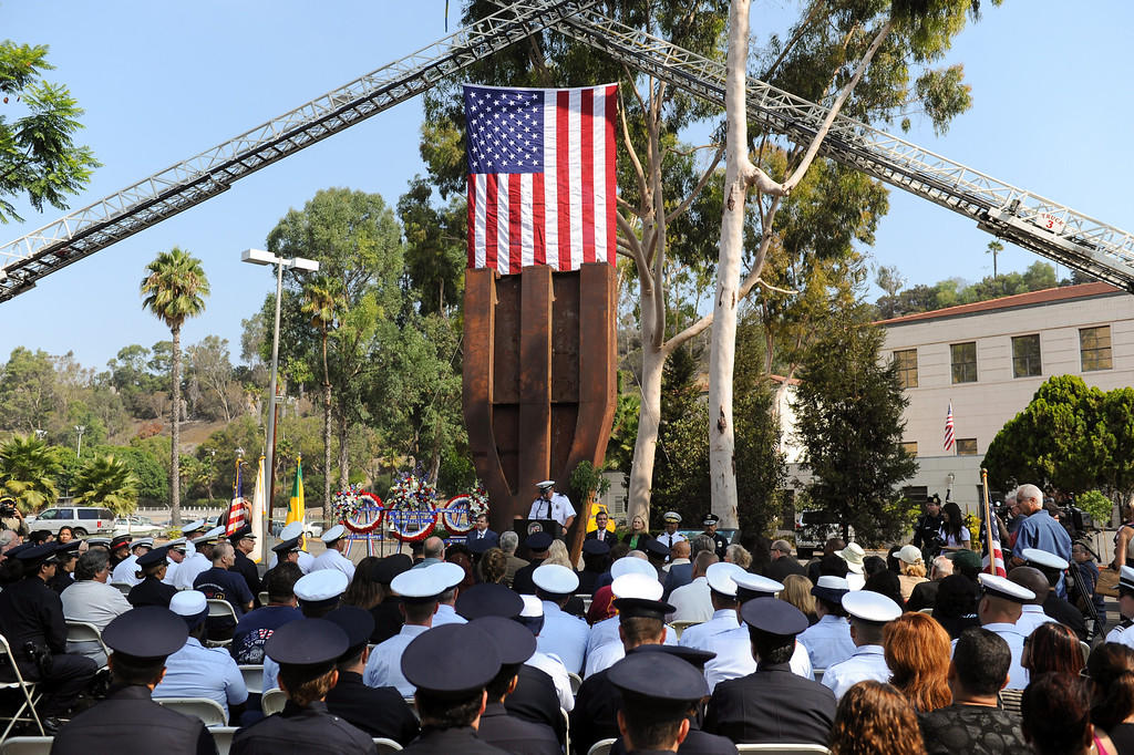 . A column from the World Trade Center is the backdrop for the 9/11 Remembrance Ceremony at the World Trade Center Memorial at LAFD Frank Hotchkin Memorial Training Center, Thursday, September 11, 2013. (Photo by Michael Owen Baker/L.A. Daily News)