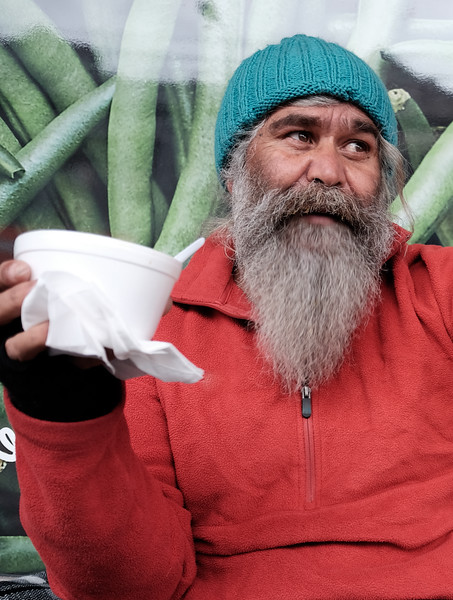 Aboriginal Man with a Cup of Soup on a Cold Day