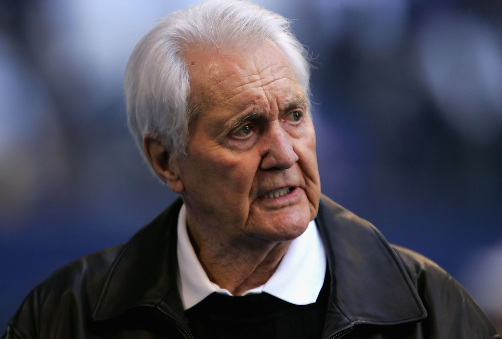 . FILE - April 16: According to reports NFL broadcaster Pat Summerall has died at the age of 82.  IRVING, TX - JANUARY 13:  Pat Summerall walks the sidelines during warm ups to the NFC Divisional Playoff game between  the Dallas Cowboys and the New York Giants at Texas Stadium on January 13, 2008 in Irving, Texas.  The Giants defeated the Cowboys 21-17.  (Photo by Ronald Martinez/Getty Images)