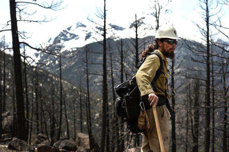 . Mark Mendonca, a Captain with the Alpine Hotshots, looks at stands of burned trees from the Fern Lake fire that burned areas high up in the park along the Cub Lake trail in Rocky Mountain National Park on May 13, 2013.    (Photo by Helen H. Richardson/The Denver Post)