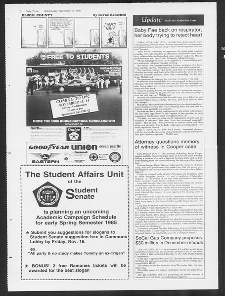 Daily Trojan, Vol. 97, No. 51, November 14, 1984