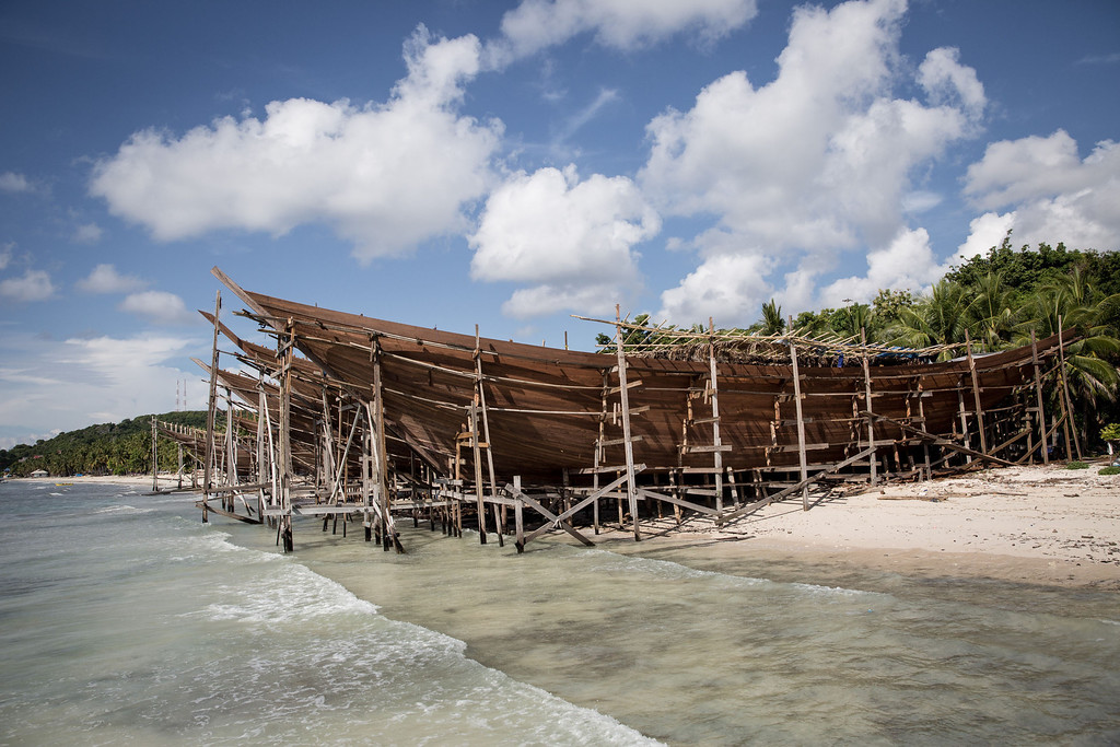 . Unfinished phinisi schooners are seen at Tanjung Bira Beach on May 2, 2014 in Bulukumba, South Sulawesi, Indonesia.  (Photo by Agung Parameswara/Getty Images)