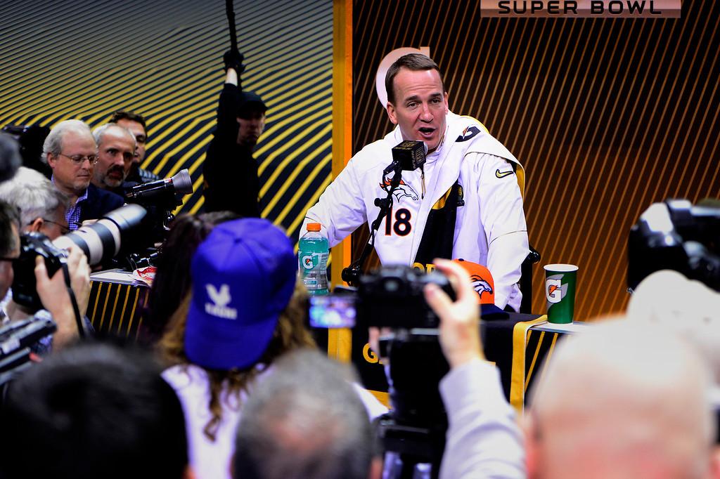 . SAN JOSE, CA - FEBRUARY 01: Denver Broncos quarterback Peyton Manning (18) during Super Bowl 50 Opening Night at the SAP Center, San Jose, CA. February 01, 2016 (Photo by Joe Amon/The Denver Post)