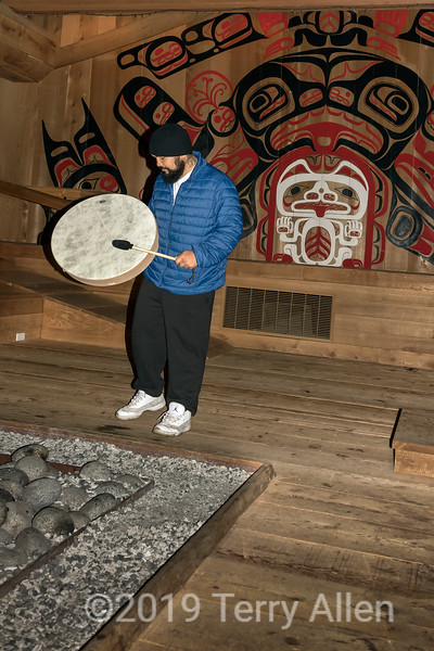 Gary singing and drumming in the longhouse, Hartley Bay, British Columbia.jpg