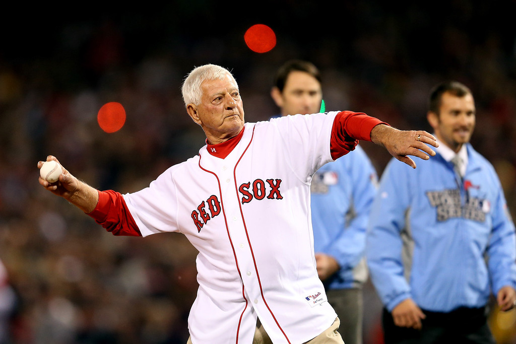 . Former Red Sox great and Hall-of-Famer Carl Yastrzemski throws out the ceremonial first pitch before Game One of the 2013 World Series between the Boston Red Sox and the St. Louis Cardinals at Fenway Park on October 23, 2013 in Boston, Massachusetts.  (Photo by Rob Carr/Getty Images)