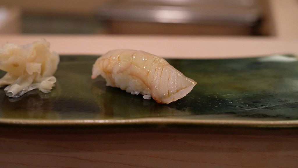 Flounder, brushed with nikiri soy sauce, the shari still warm.