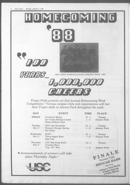 Daily Trojan, Vol. 107, No. 19, October 03, 1988