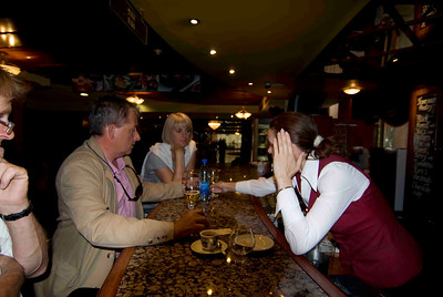 At the bar in hotel Rus, with Nick and his wife Sheila, not everybody wants to be photographed.