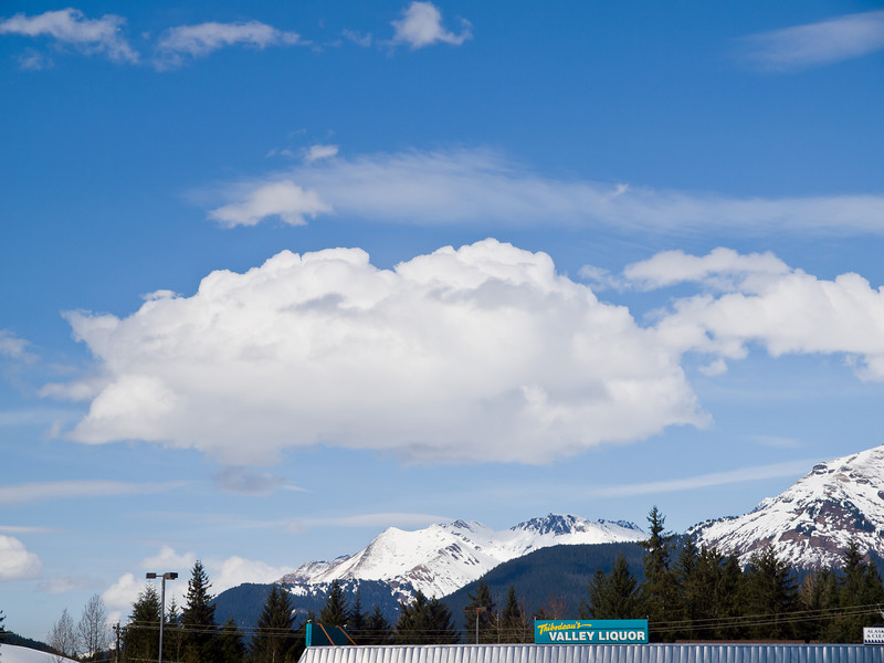 Simpsons clouds above the liquor store in Juneau, Alaska, April 25, 2010.