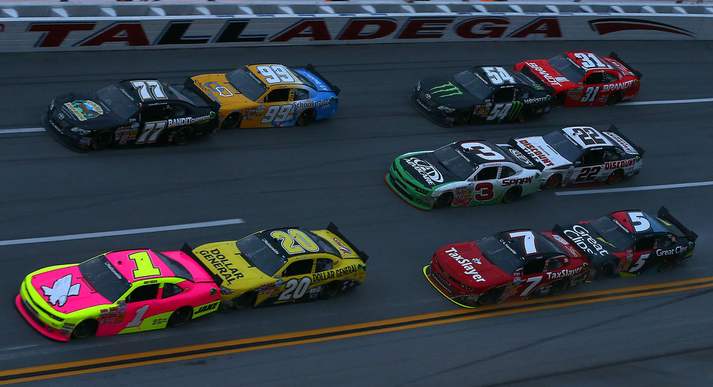 . TALLADEGA, AL - MAY 04:  Kurt Busch, driver of the #1 Phoenix Construction Chevrolet, leads a pack of cars during the NASCAR Nationwide Series Aaron\'s 312 at Talladega Superspeedway on May 4, 2013 in Talladega, Alabama.  (Photo by Tom Pennington/Getty Images)