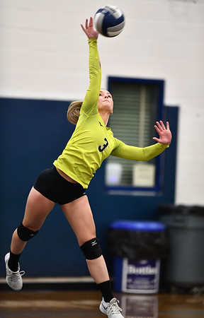 11/1/2019 Mike Orazzi | StaffrBristol Eastern's Rebecca Bender (3) during Friday night's volleyball match with Lyman Memorial in Bristol