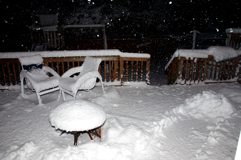 Saturday night. Really comming down now. About six inches or so...............