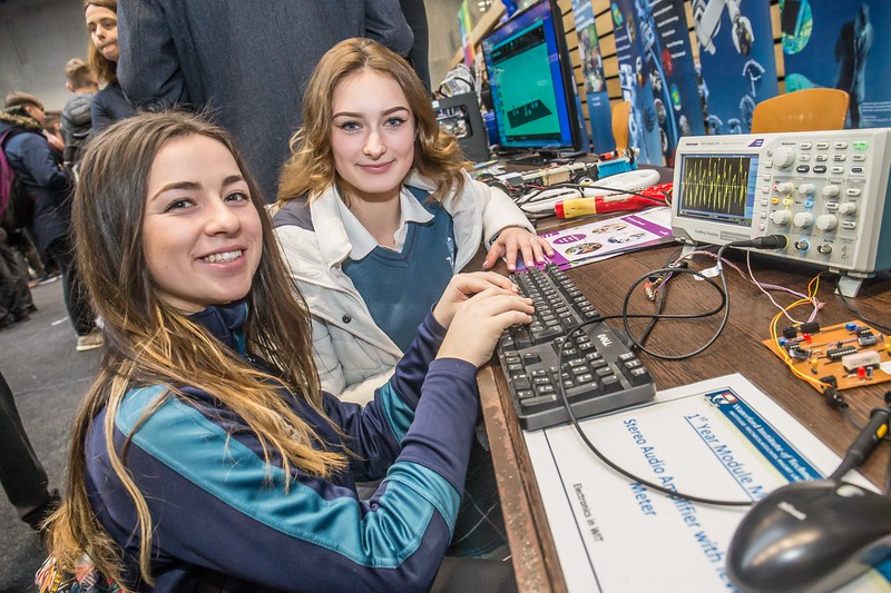 Sarah Smith and Anastatsia Nadtothieva, Ardscoil na Mara, Tramore during the Waterford Institute of Technology Schools' Open Day at the WIT Arena. On Saturday, 20 January, WIT is running another open day, the #StudyatWIT Open Day which will have information available on all courses available across WIT's schools of Lifelong Learning, Humanities, Engineering, Science & Computing, Health Sciences, Business. Picture: Pat Moore