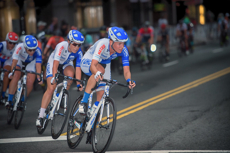 United Health Care controlling the 2016 women's race of the Charlotte Criterium presented by Novant Health.  Photo by Weldon Weaver.
