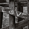 Love graffiti on railroad trestle timbers, Snohomish County,  Washington, 1993,  Agfa 100.